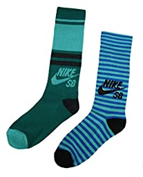 Nike SB 2 Pairs/Pack Boy\'s Crew Socks, Youth, Mint Green 5Y-7Y
