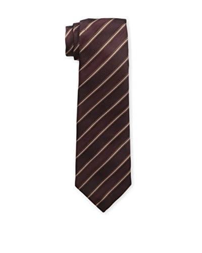 Isaia Men's 7-Fold Silk Tie, Maroon/Brown