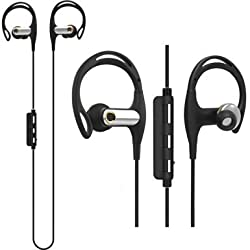 Waterproof Bluetooth Earbuds,SONYXER Wireless Stereo Noise Cancelling Earphone with Mic and Mini Bag,Portable Earhooks-Black