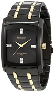 Armitron Men's 20/4507GPTI Swarovski Crystal Accented Black Ion-Plated and Gold-Tone Bracelet Watch