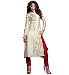 London Beauty Women's Semi Stitched Dress Material (204_Cream,Red)