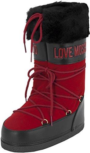 Love Moschino Velvet Love, Stivali da neve donna, Rosso (rosso), 36 EU