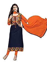 DnVeens Womens Blue Embrodery Unstiched Suit Dress Material