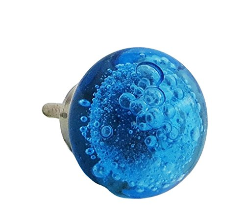 Cobalt Blue Bubbles Glass Drawer Pull, Dresser Knob (Cobalt Blue Glass Knobs compare prices)