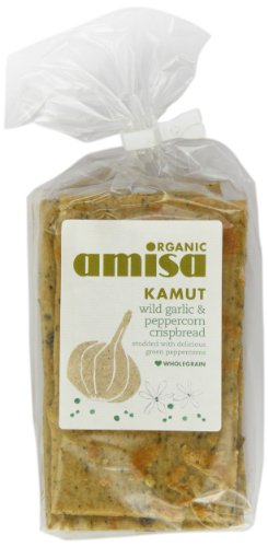 Amisa Organic Kamut Crispbread with Wild Garlic and Green Peppercorn 200 g (Pack of 3)