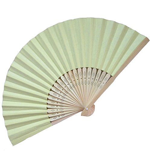 Topshop® Ladies Bamboo & Paper Fan Hollow Out Hand Folding Fans Outdoor Wedding Party Favor (1, Light green)