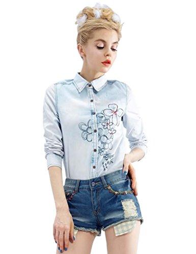Elf Sack Womens Autumn Blouse Long Sleeve Pastoral Embroidery Applique Jeans Medium Size