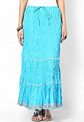 Soundarya Women's Ethnicwear Cotton Jaipuri Long Blue Skirt (SKS4)