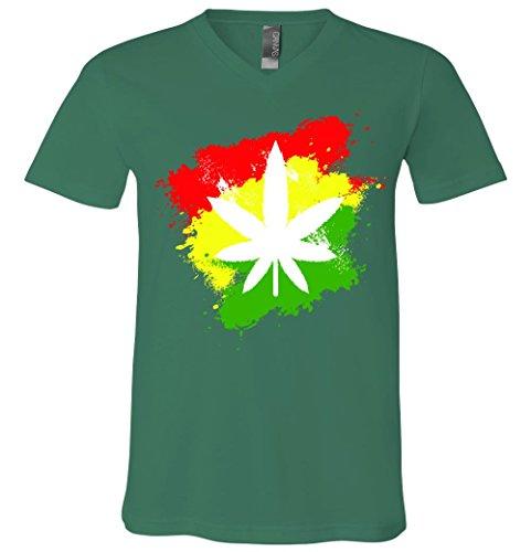 Weed Marijuana Grunge V-Neck T-Shirt