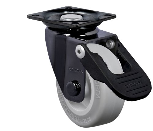 """Schioppa, Glap 210 Sp Fpi-Br, 2"""" (50 Mm) Swivel Brake Caster, Non-Marking Very Soft Rubber Whl, 70 Lbs, Plate: 1-21/32 X 1-21/32"""" (Bh 1-1/4 X 1-1/4"""") front-333060"""