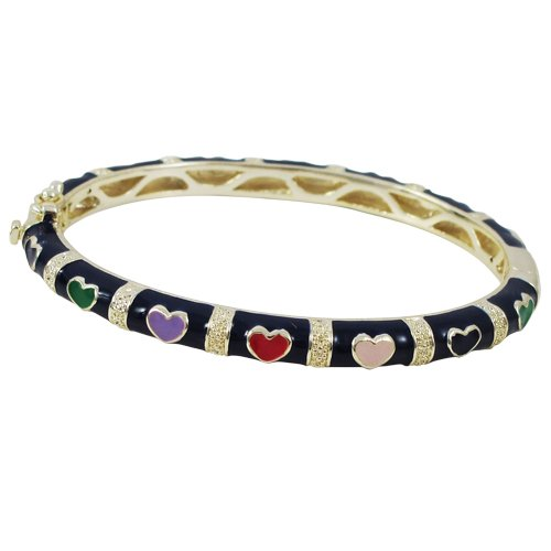 Navy Multi Color Enamel Hearts 18k Yellow Gold Plated Kids Girls Bangle Bracelet 50 mm