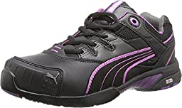 Women\'s Puma Safety Stepper SD Low Safety Toe Shoes, BLK/PURPLE, 9D