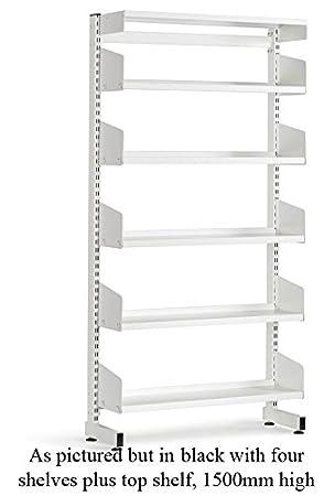 School Library Single Sided Shelving 4 Shelves 1500Hx900Wx250D Black