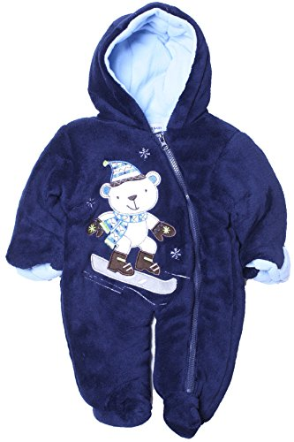 Cone Isle Baby - Baby Boys 0-9M Plush Snow Bear Snowsuit Pram -Navy6/9M back-276680