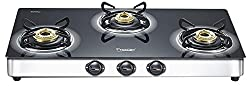 Prestige Royale Plus Stainless Steel 3 Burner Gas Stove, Black (40178)