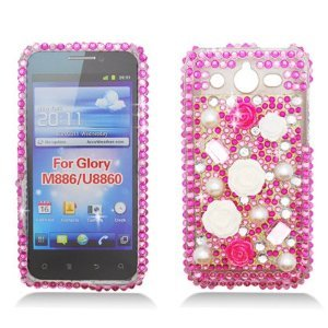 Sparkling White & Hot Pink Rose with Pearl Design Full Diamond Rhinestone Snap on Hard Skin Cover Case for Huawei M886 Mercury