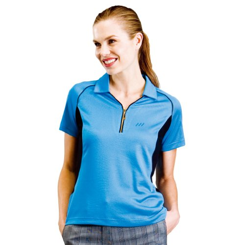 Monterey Club Ladies Dry Swing Fish-Eye Texture Contrast Shirt #2178 (Malibu Blue/Black, Large)