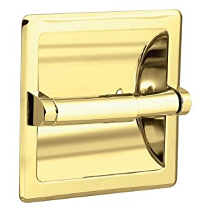 Moen 2576PB Contemporary Recessed Paper Holder, Polished Brass
