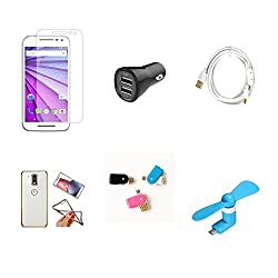 High Quality Combo of Moto G3 Temper Glass + Car Charger 2 USB + Fast Charging Cable + Attractive Back Cover (Transparent Back with Golden Border) + OTG and USB Dual Card Reader