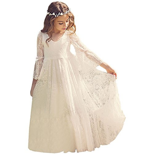Bohemian Country Beach Long Lace Flower Girl Bohemian Dresses with Sleeves 3