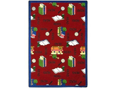 "Joy Carpets Kid Essentials Language & Literacy Oval Bookworm Rug, Red, 5'4"" x 7'8"""