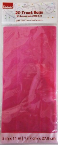 Pink Party Favor Cellophane Bags with Matching Twist Ties - 20 Count