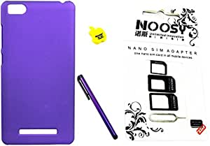 FCS Rubberised Hard Back Case For Xiaomi Mi 4c in Matte Finish With Stylus, Card Reader and Sim Adaptor-Purple