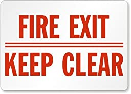 Fire Exit Keep Clear Label, 14\