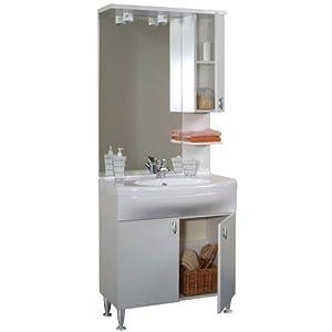Monoblocco arredo bagno con lavabo kit bianco laccato bianco BA0016 ...