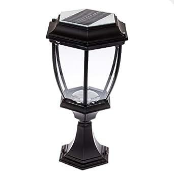 solar 12 led outdoor garden lamp column post topper light