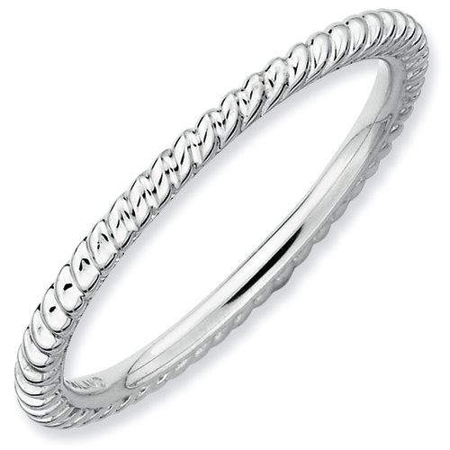Sterling Silver Stackable Expressions Rhodium Twisted Ring (Size 5)