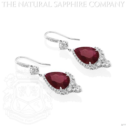 Elegant Pair of 18K White Gold, Pear Shaped Ruby Drop and Diamond Earrings. сумка cambridge the satchel company 13