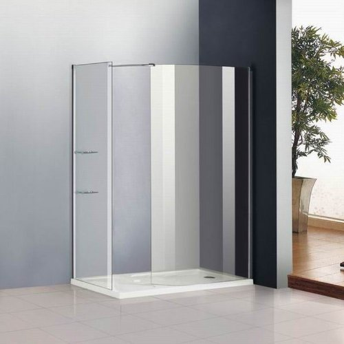 1200 x 800mm Walk In Shower Enclosure Cubicle Glass Screen Panel Stone Tray (WF14-52+WF8T+AS011)