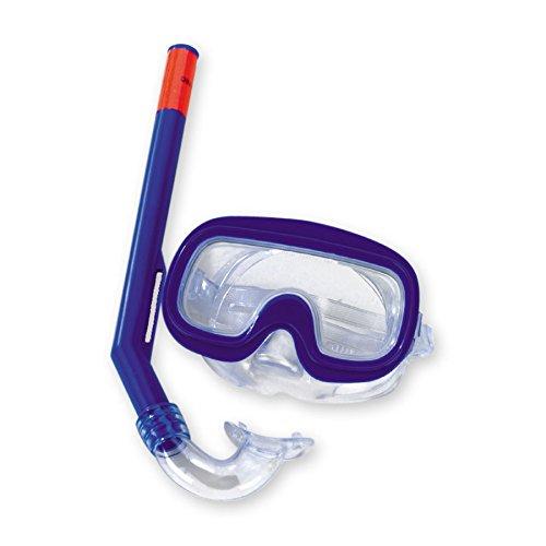Taucherset Maske mit Nasenerker 34cm Schnorchel DIN-Genormt blau - Tauchermaske Taucherbrille Schnorcheln Set Schwimmbrille Kinder Schnorchelset