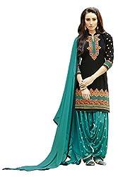 Naaidaakho Black And Sea Blue Patiyala Dress Material