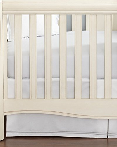 Little By Hudson Park Italian Percale Crib Skirt Pearl White - 1