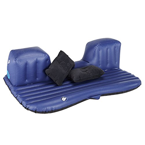 Pinty Car Travel Inflatable Mattress Air Cushion Backseat Camping with Pump, 2 Pillows (Black)