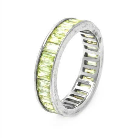 Marvelous Ladies Eternity Band, Hand Set with Yellow Baguette Cubic Zirconias and Crafter with Solid Sterling Silver, Comes with Free Gift Box and Pouch. (7)