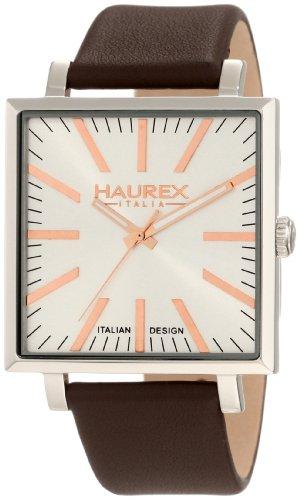 Haurex Italy 6A375USH - Reloj analógico de cuarzo para hombre con correa de piel, color marrón
