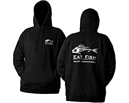 Grunden's Men's Eat Fish Hooded Sweatshirt, Black, Medium