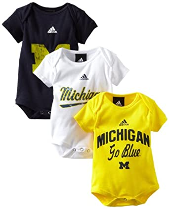 NCAA Michigan Wolverines Infant 3 Pack Creepers, White, 12Mo