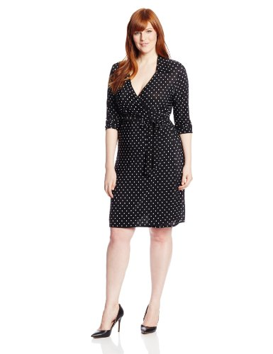 B00HD6QX50 Star Vixen Women's Plus-Size Long Sleeve Fullwrap Dress, Black/White Dot, 3X