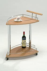 Kings Brand Chrome & Natural Finish Wood Serving Cart With Wine Rack by Kings Brand Furniture