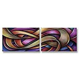 Neron Art - Handpainted Abstract Oil Painting on Gallery Wrapped Canvas Group of 2 pieces - Allahabad 24X8 inches