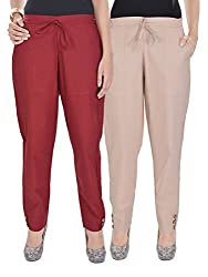 Kalrav Solid Maroon and Beige Cotton Pant Combo