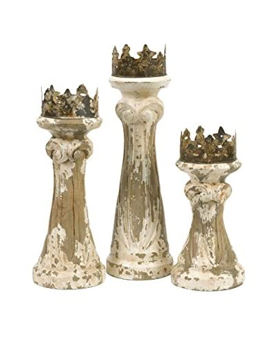Set of 3 Feliciano Hand-Carved Wood Candleholders