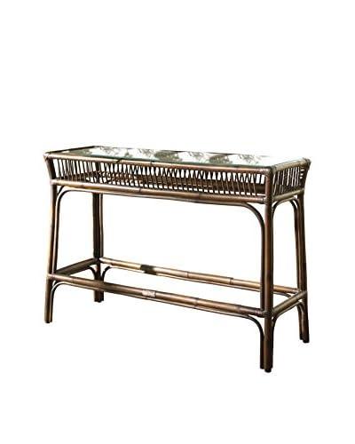Panama Jack Bora Bora Console Table With Glass, Antique