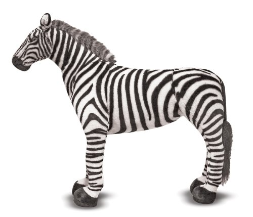 Melissa & Doug Giant Striped Zebra - Lifelike Stuffed Animal (nearly 3 feet tall)