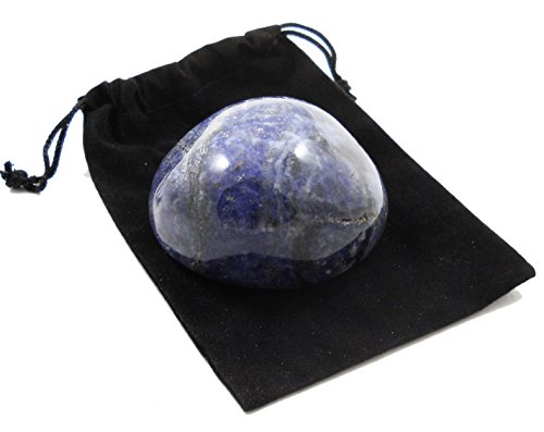 HUGE XXL JUMBO FIST SIZE SODALITE Tumbled Therapy Palm Stone Crystal Healing Mineral Gemstone & Pouch (Tumbled Stone Chart compare prices)