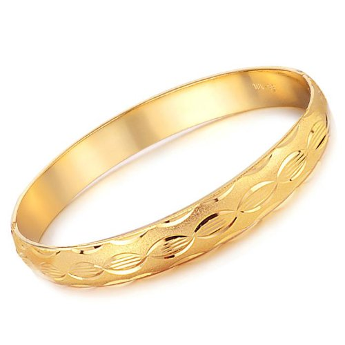 Opk Jewellery Fashion 18K Gold Plated Women's Bangle Wedding Party Classic Bride Gift Cuff Bracelets With Shiny Wave Pattern Never Fade and Anti-Allergy 7.09 Inch Perimeter 8mm Width 31g Weight New Design Wristband